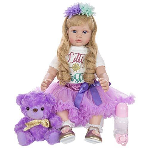 QQZQQ DIY Pendientes de Oro Reborn Baby Doll Muñeco 60 cm Princesa Realista Muñecas para niños de Silicona para niña Regalo de cumpleaños 1227dmsjwawa-4503