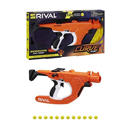 NERF Rival Curve Shot Sideswipe XXI-1200 Blaster dispara para curvar à esquerda, direita, descer ou fogo, reto, 12 Rival Rounds