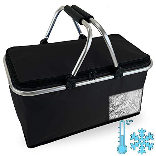 Cepewa Einkaufskorb faltbar mit Thermofunktion 30 L Kühltasche Thermokorb Picknickkorb Isoliertasche (schwarz mit Thermofunktion)
