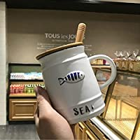 マグカップ海洋生物セラミックスマグカップふた付きスプーンコーヒーマグミルクティーオフィスカップドリンクウェア友人