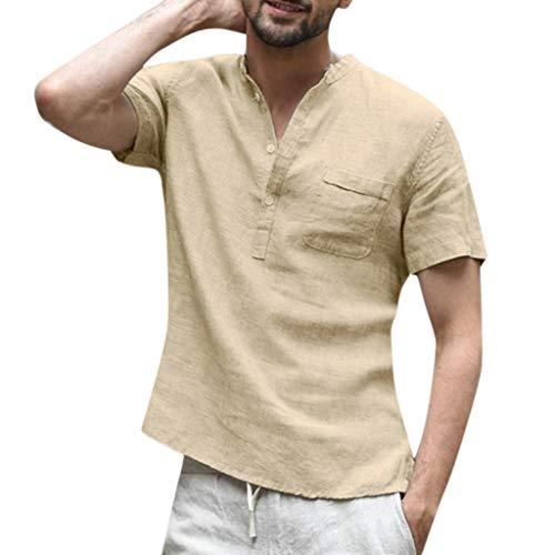 Men's Baggy Cotton Linen Color Short Sleeve Retro Buttons T Shirts Tops Loose Fit Blouse Khaki