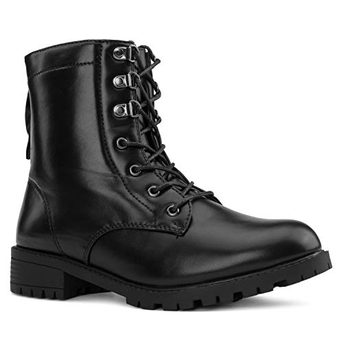 RF ROOM OF FASHION Women's Adjustable Wide Ankle Lug Sole Combat Boots w Pocket