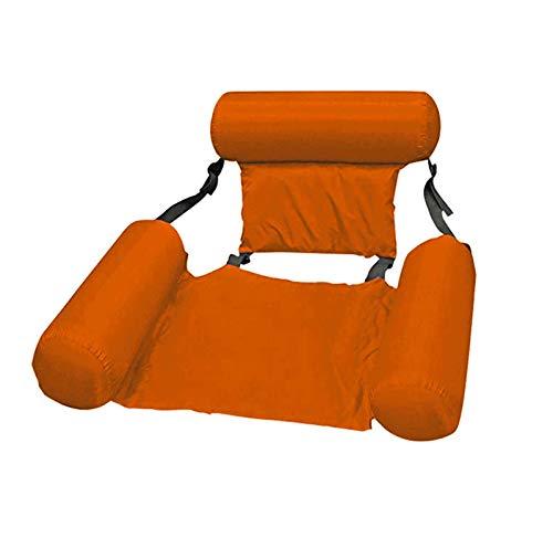 'N/A' Drenaje Flotante de la Piscina en el sillón reclinable Inflable Hamaca portátil Ocio y Entretenimiento de Verano Silla de Fila Alfombra de Playa para Adultos y niños(Color:Naranja)
