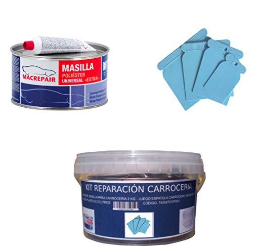 KIT REPARACION CARROCERIA (MASILLA PARA CARROCERÍA 2 KG + JUEGO ESPATULA CARROCERO PLASTICO + CUBO PLASTICO 2,5 LITROS) MAC+PLAST