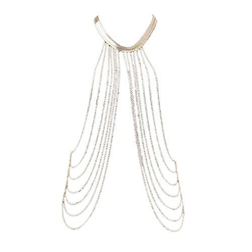 Yazilind Sexy Goldene Legierung Peals Layered Damen Halskette Ketten
