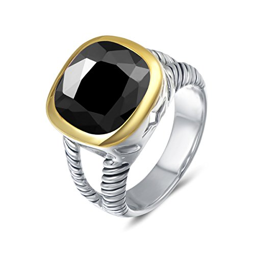 UNY Ring Twisted Cable Wire Designer Inspired Fashion Brand David Vintage Love Antique Women Jewelry Gift (Black, 6)