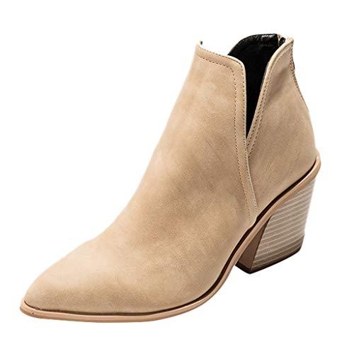 WUSIKY Geschenk für Frauen Stiefeletten Damen Bootsschuhe Boots Quadratische Spitze High Heel Fashion Stiefel mit kurzem Rohr und seitlichem Reißverschluss (Beige, 39.5 EU)