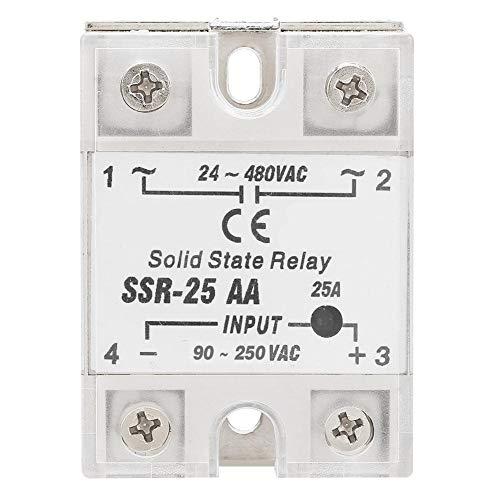 Relé de estado sólido, SSR-25 AA 25A Módulo de relé de estado sólido (SSR AC-AC Entrada 90-250V AC Salida 24-480V AC)