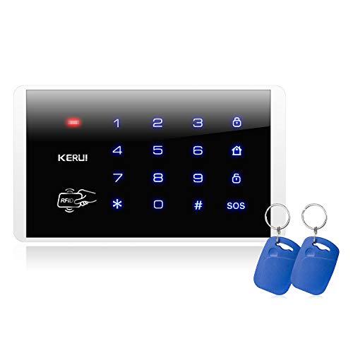 KERUI K16 Teclado de Pantalla Táctil RFID Inalámbrica con Tarjeta RFID Impermeable, Kit de Alarma Antirrobo Casa de Bricolaje, Compatible con Sistema Alarma de Seguridad gsm/WiFi para Hogar KERUI