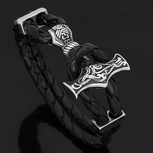 LRKZ Viking Hammer - Pulsera de cuero negro con amuleto de estilo Pagan Viking original amuleto pirata de acero inoxidable, 21 cm
