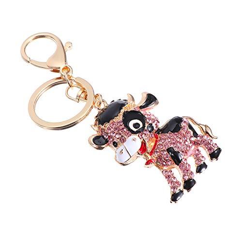 Amosfun Llavero de buey con diamantes de imitación de cristal de vaca encantador llavero 2021 del zodiaco chino de Año Nuevo, regalo de la suerte, regalo para el hogar o el coche, decoración rosa