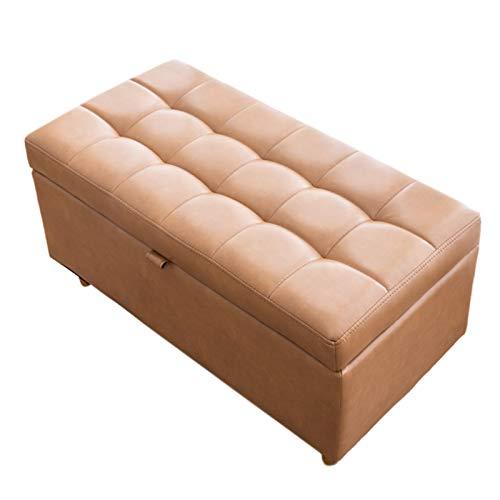 YXX Lagerung Hocker Große Osmanische Hochleistungs-Aufbewahrungsbank Für Schlafzimmer Und Bettende, Last 200 Kg - Wohnzimmer Sofa Lange Fußstütze Mit Holzbeinen, 40 X 78 X 40 cm (Color : Brown-1)