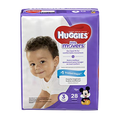 HUGGIES LITTLE MOVERS Diapers, Size 3 (16-28 lb.), 28 Ct., JUMBO PACK (Packaging May Vary), Baby Diapers for Active Babies