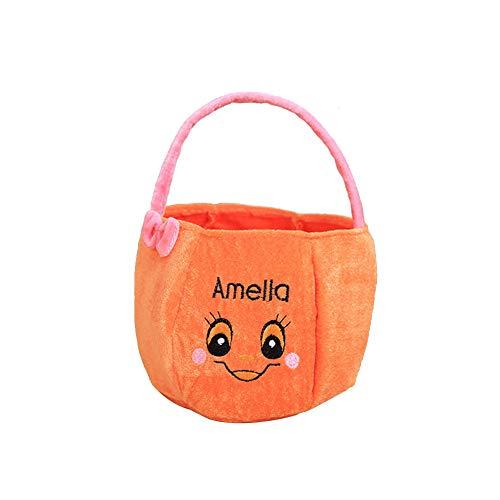 Joyfeel buy 1 bolsa de Halloween para niños, forma de calabaza, bolsa de regalo, bolso de golosina, cubo para fiesta de disfraces 15 * 25cm Lazo rosa