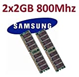 Samsung - Kit Barette mémoire 2 x 2 Go 4 Go Dual Channel Kit = 240 broches DDR2-800 DIMM (800 MHz, PC2-6400) M378T5663QZ3-CF7...