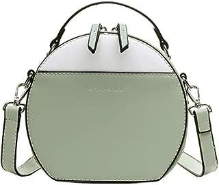 TOOGOO Fashion Women Shoulder Bag Color Matching Leather Women's Crossbody Messenger Bags Ladies Purse Female Round Handbag Green