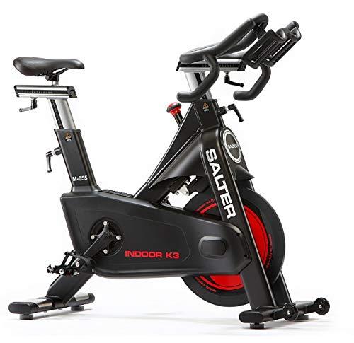 Salter Bicicleta Indoor M-055 Freno magnético Linea Profesional, sin Mantenimiento, Pedales Doble función, paro de Emergencia, tijas en Aluminio. Silenciosa. Transmisión por Correa.