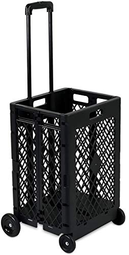 Mount Plus MP-WS-8 Mesh Rolling Utility Cart, Folding and Collapsible Hand Crate on Wheels, 55 Lbs Capacity (Mesh Rolling Cart)