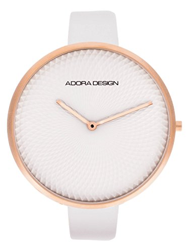 Adora Design Damenuhr mit Lederband Weiss 44 MM AD8123