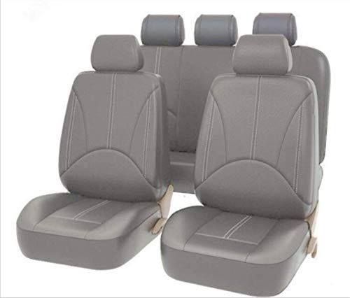 EET Universal Car Seats PU Leather Fashion Look Seat Covers for Summer And Winter Leatherette Environmental Seat Covers for Front Seats And Rear Bench 9-Piece Set,gray