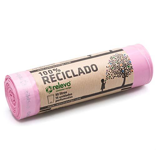 Relevo 100% Reciclado Bolsas Basura Perfumadas, extra resistentes 30 L, 15 bolsas