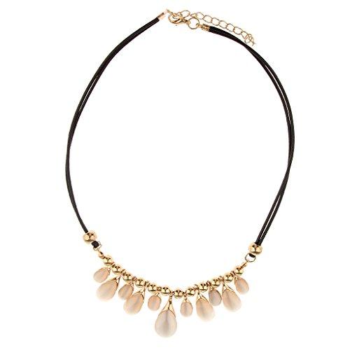 joyMerit Lote de Lujo Elegante para Mujer, Collar de Cuero de PU con Colgante de Bola Dorada de Cristal de Gota de Agua de Varios Tamaños
