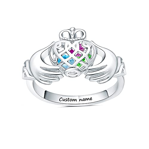 Personalized Birthstone Rings Irish Claddagh Ring Heart Shaped Caged Locket Rings Sterling Silver Engraved Bands With Names for Girls Women Love Wedding