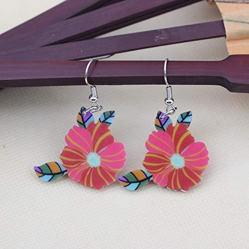 EHXWL 1 par de Flores Lindas Preciosas Pendientes de Gota de impresión Diseño de acrílico Estilo de Primavera/Verano para niñas Mujer Joyería