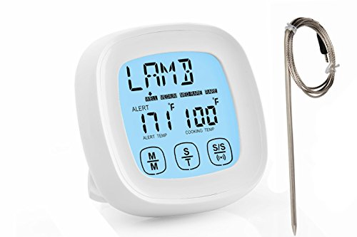 Best Digital Oven Meat Thermometer | Stainless Steel Probe - Instant Read | Kitchen TIMER | Pot Cooking, Microwave, Baking