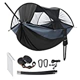 KingCamp 3 in 1 Camping Hammock with Gauze Net Support to 550lbs Double Hammocks Portable 2 Person Hammock Tent with Tree Straps Outdoor Hammock for Camping Backpacking Hiking(Black)