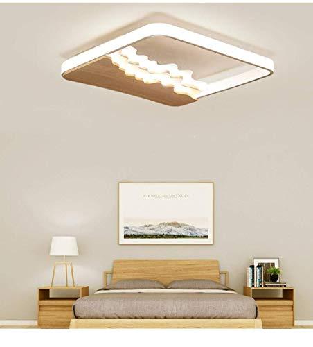 WEM - Lámpara decorativa, plafón LED, cuadrada, 50 cm, plafón nórdico de salón de madera maciza, iluminación de la habitación, plafón de dormitorio, de grano de madera, graduación