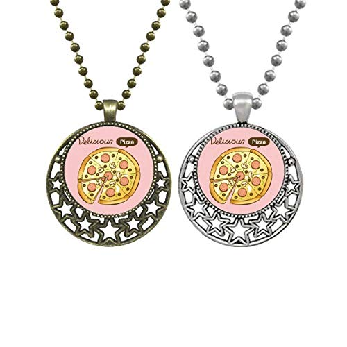 Halskette mit Anhänger in Form eines Wurstpilzes, Pizza, Italien, Lebensmittel, Liebhaber, Retro, Mond, Sterne, Schmuck