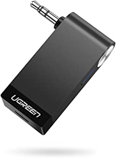 UGREEN Receptor Bluetooth 5.0 para Auto, Manos Libres Bluetooth Receiver de Coche con EDR Adaptador de Audio 3.5mm y Micró...