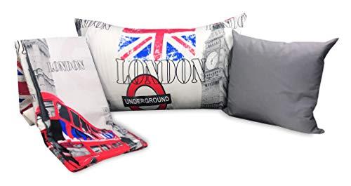 cuscino 1 piazza e mezza Tex family Copripiumino Londra Inglese Cabina Big Ben Underground competo di federe e Cuscino ARREDO - Singolo 1 Piazza CM. 155X200