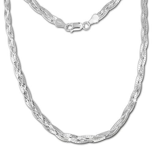 SilberDream - Collana da donna in argento Sterling 925, intrecciata a spina di pesce, 45 cm SDK28345J