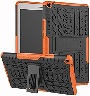 YHUISEN Hyun Pattern Dual Layer Hybrid Armor Kickstand 2 in 1 Shockproof Cover for Huawei MediaPad T3 8.0 inch 2017 Release (Color : Orange)