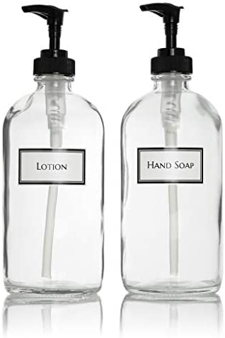 Ceramic Printed Glass Hand Soap and Lotion Dispenser Set with Black Pumps 16 oz Clear product image