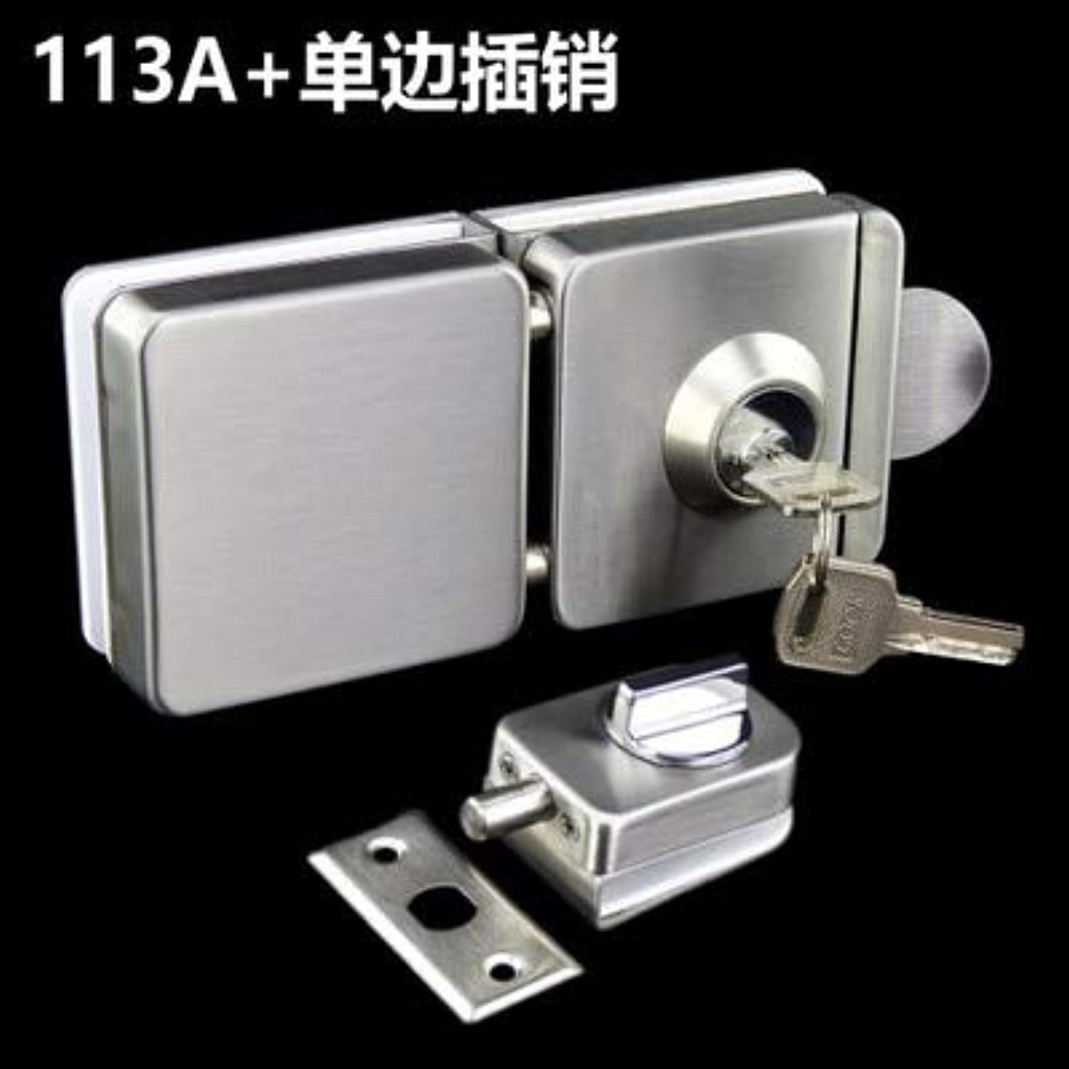 304 Stainless Steel Square Glass Door Lock with Keys Free Opening Sliding Door Latches for 1012mm Thickness Furniture Hardware  (color  6 Unilateral Latch)