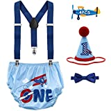 Cake Smash Outfit for Baby Boys Airplane First Birthday Cake Smash Outfit Time Flies Cake Smash Bloomers Bow Tie Adjustable Y Back Suspenders Strap Clip Costume Diaper Cover