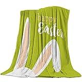 Manta de Franela para sofá Cama con Orejas de Conejo de Pascua Felices Manta Ligera y acogedora para Adultos / niños