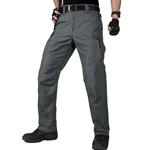 Ree Soldier Herren Cargo Arbeitshosen Wasserabweisende Taktische Hose mit Mehreren Taschen Schnelltrocknende Kampfhose Lässige, leichte Hose für Wandern(Grau,30W / 30L)