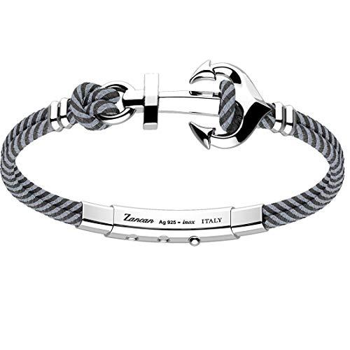 Zancan EXB918-08 - Pulsera para hombre de Kevlar, gris y negro, con ancla de plata 925