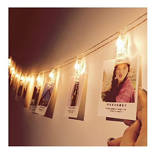 Glamouric - Foto Clips Cadena de Luces - 16 LEDs Adorno Guirnalda Luminosa Luces de Navidad Perfecto para Halloween, Navidad, Festivales, Fiestas, Bodas