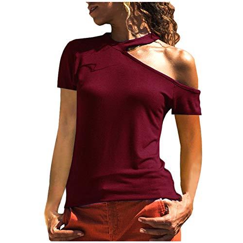 2021 Nuevo Camiseta Mujer Elegante Sexy Manga Corta Color sólido Hombro sin Tirantes Moda Fiesta Roto Blusa Camisa Suelto Verano Camiseta Tops Casual T-Shirt Original