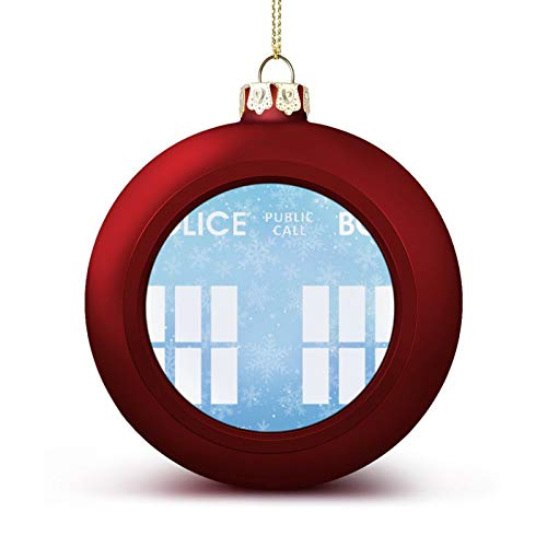 Inspired Police Box DR Tardis WHO Public Call Box Custom Christmas Ball Ornaments with Lanyard Beautifully Decorated Christmas Ball Gadgets for Holiday Party Decoration Xmas Tree Hanging Decorated
