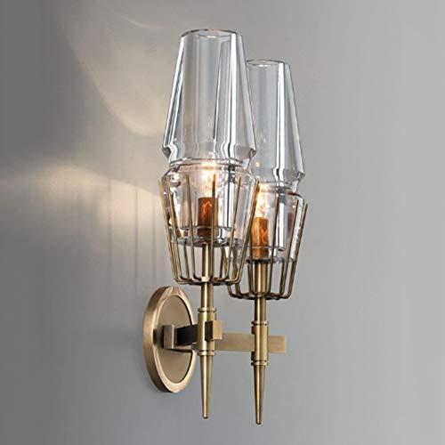 YHNJI Lámpara de Pared de Doble Cabezal Edison Island Glass Light Shade Interior Luces Retro Industrial E14 Brazo 2 Luz de Llama Lámpara de Montaje en Pared Mesita de Noche Lectura 24 * 46.5 * 14CM