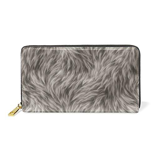 Wolf Feather Skin Portafoglio con Cerniera Portamonete in Vera Pelle Porta Carte di Credito per Donna Telefono Ragazza Uomo