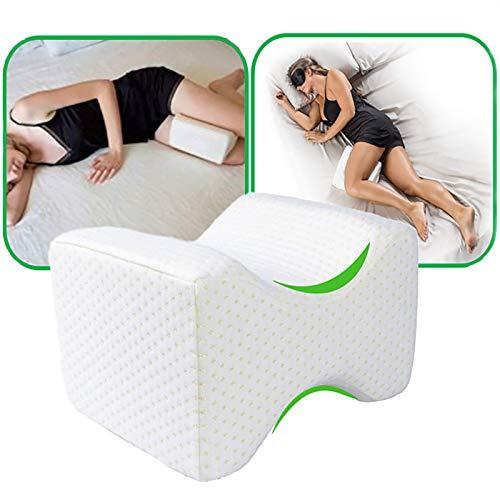 Cojín ortopédico para piernas con espuma de memoria, almohada de apoyo de la rodilla para alivio de la ciática, dolor de espalda, dolor en las piernas, embarazo Knee Pillow-blanco
