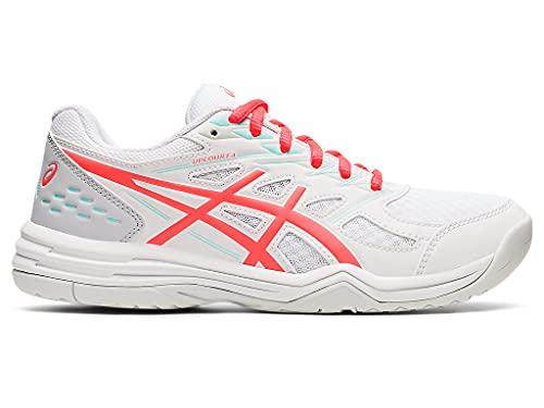 ASICS Women's Upcourt 4 Indoor Sport Shoes, 9, White/Sunrise RED