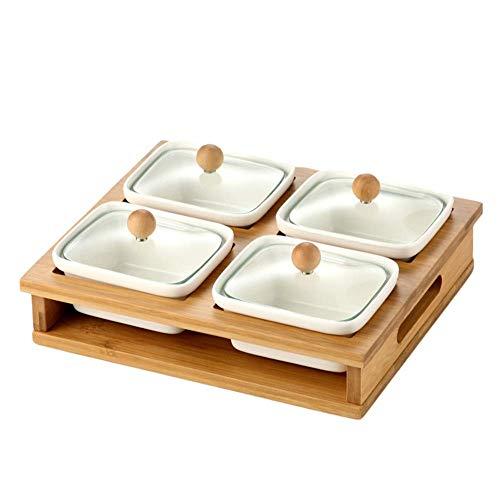 JYDQM Contenitore for servire caramelle e frutta a guscio, Vassoio for antipasti con coperchio, Organizzatore for il pranzo con 6 scomparti in plastica for alimenti, Piatto da campeggio diviso, Piatto